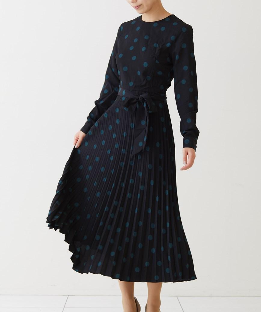 プリーツスカートドットミディアムドレス-ブラック-M-L