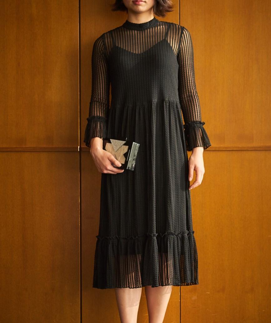 ハイネックストライプフリルミディアムドレス―ブラック-M