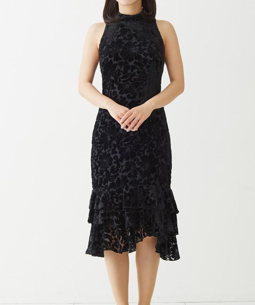 ベルベットレイヤードミディアムドレス―ブラック-S