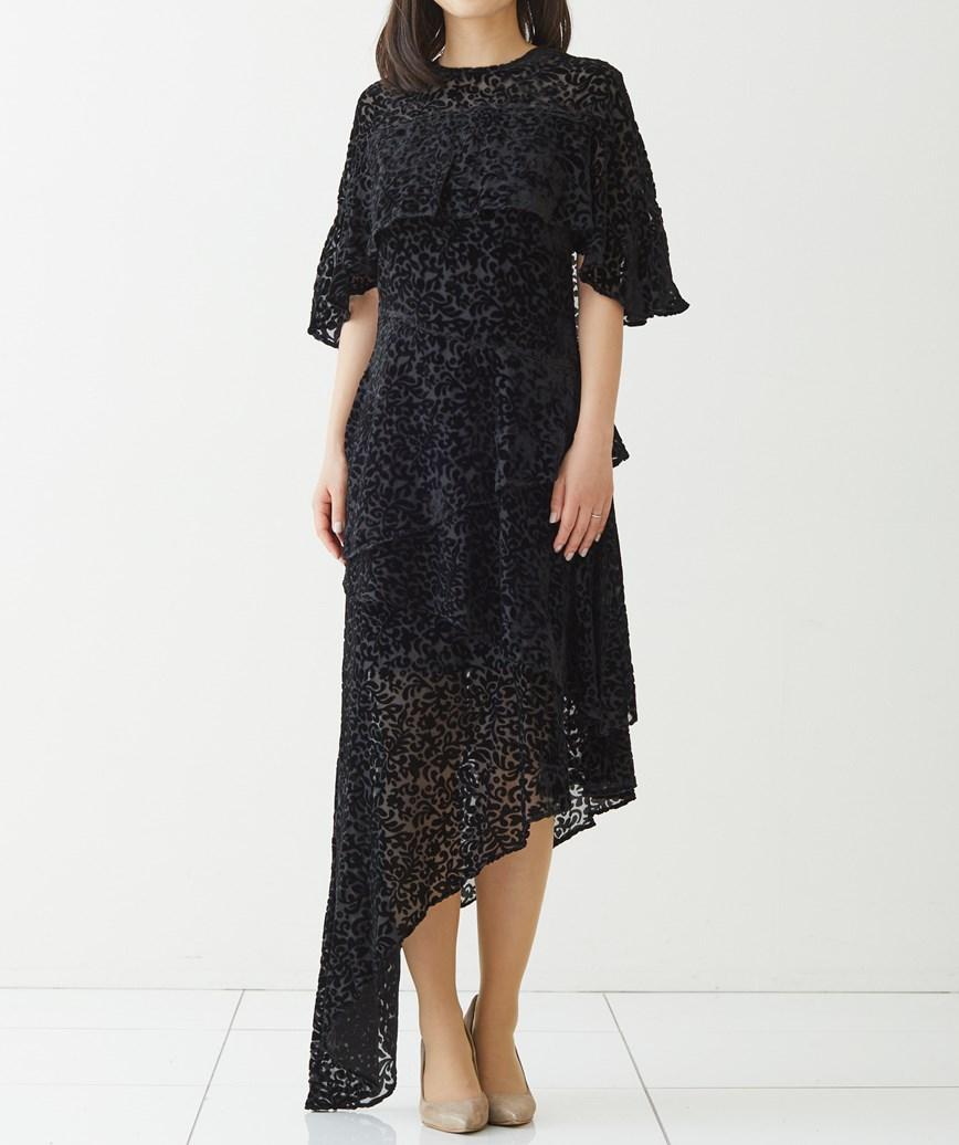アシンメトリーレオパードミディアムドレス―ブラック-M-L