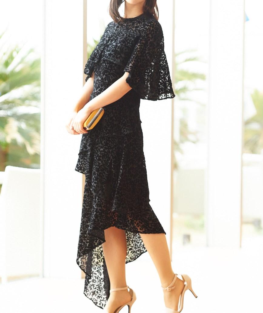 アシンメトリーレオパードミディアムドレス-ブラック-S-M