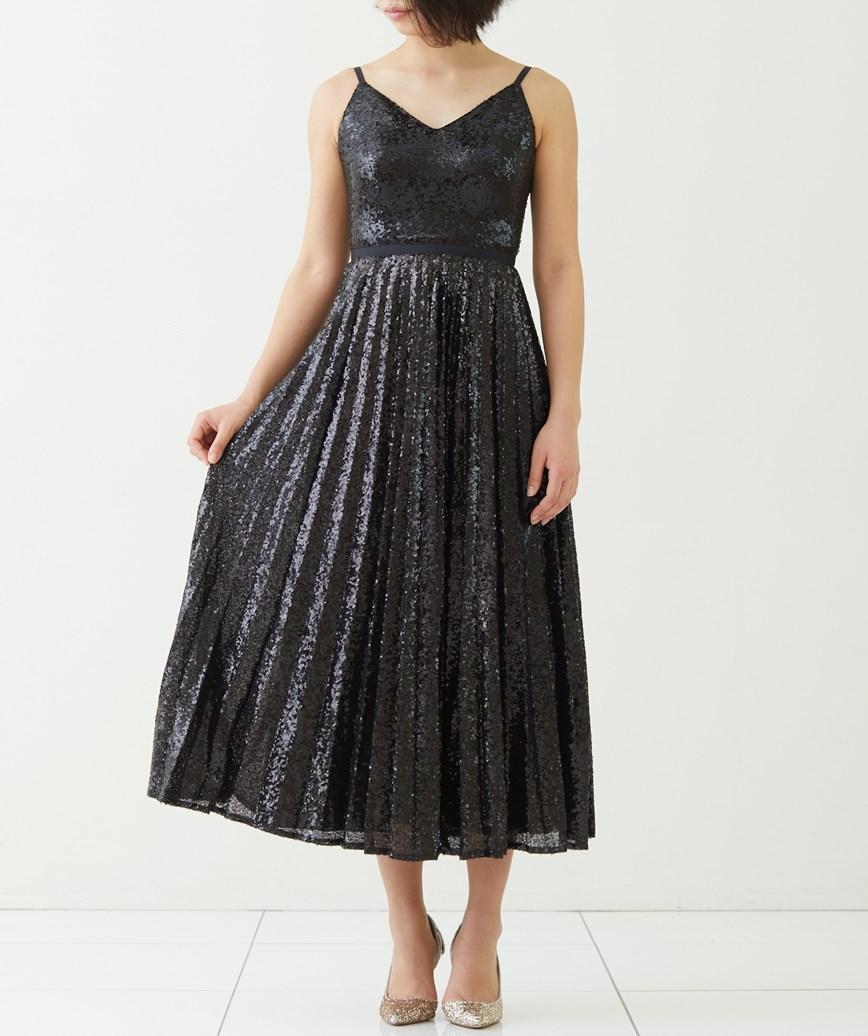 スパンコールキャミソールミディアムドレス―ブラック-S-M