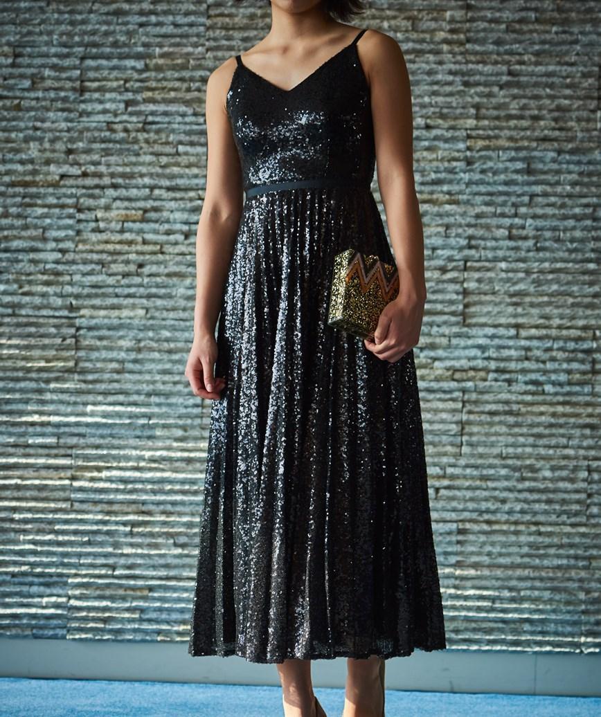 スパンコールキャミソールミディアムドレス―ブラック-M-L
