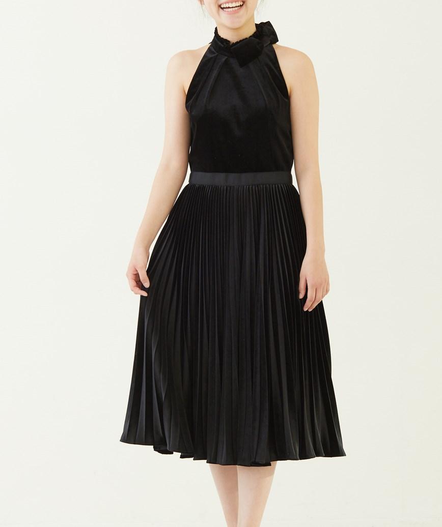 アメリカンスリーブベルベットミディアムドレス―ブラック-S-M