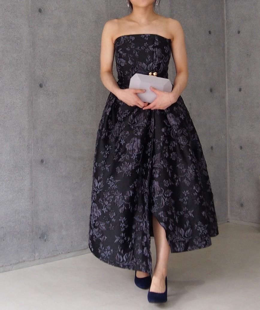 ジャガードアシンメトリーベアミディアムドレス-ブラック-S