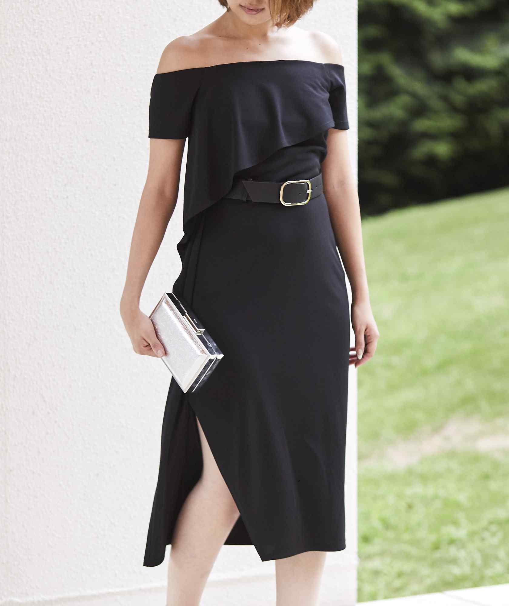 オフショルダーベルトマークミディアムドレス―ブラック-ブラック-S