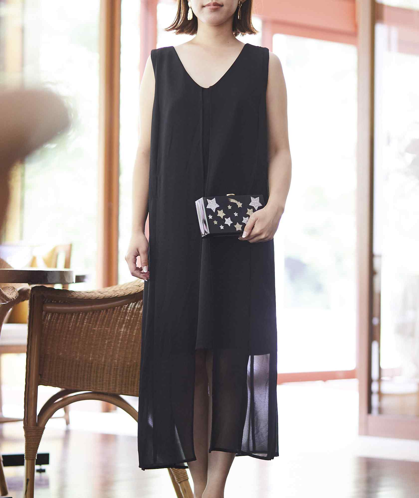 シフォンロングデザインショートドレス-ブラック-M