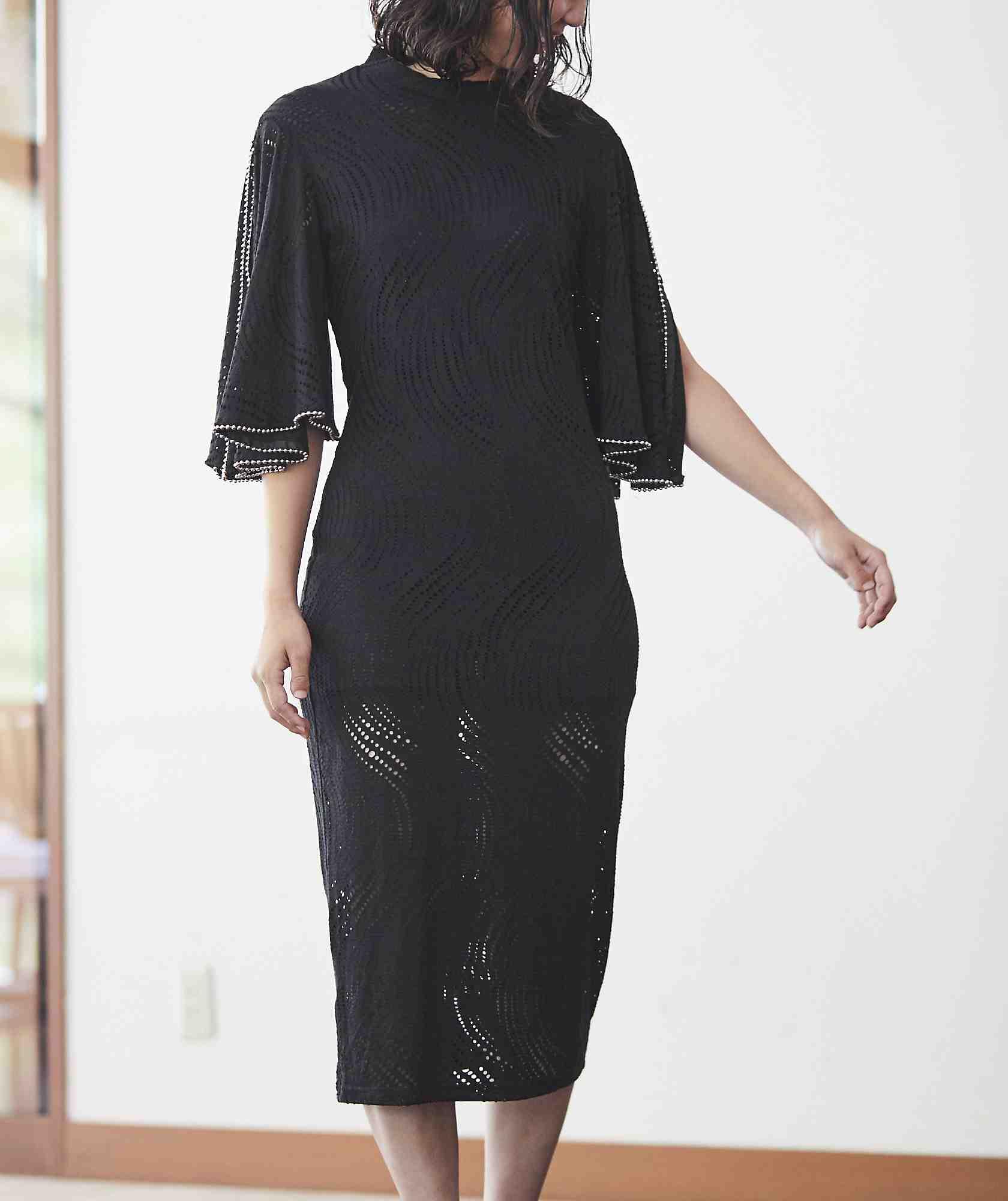 スリーブデザインタイトミディアムドレス-ブラック-M-L