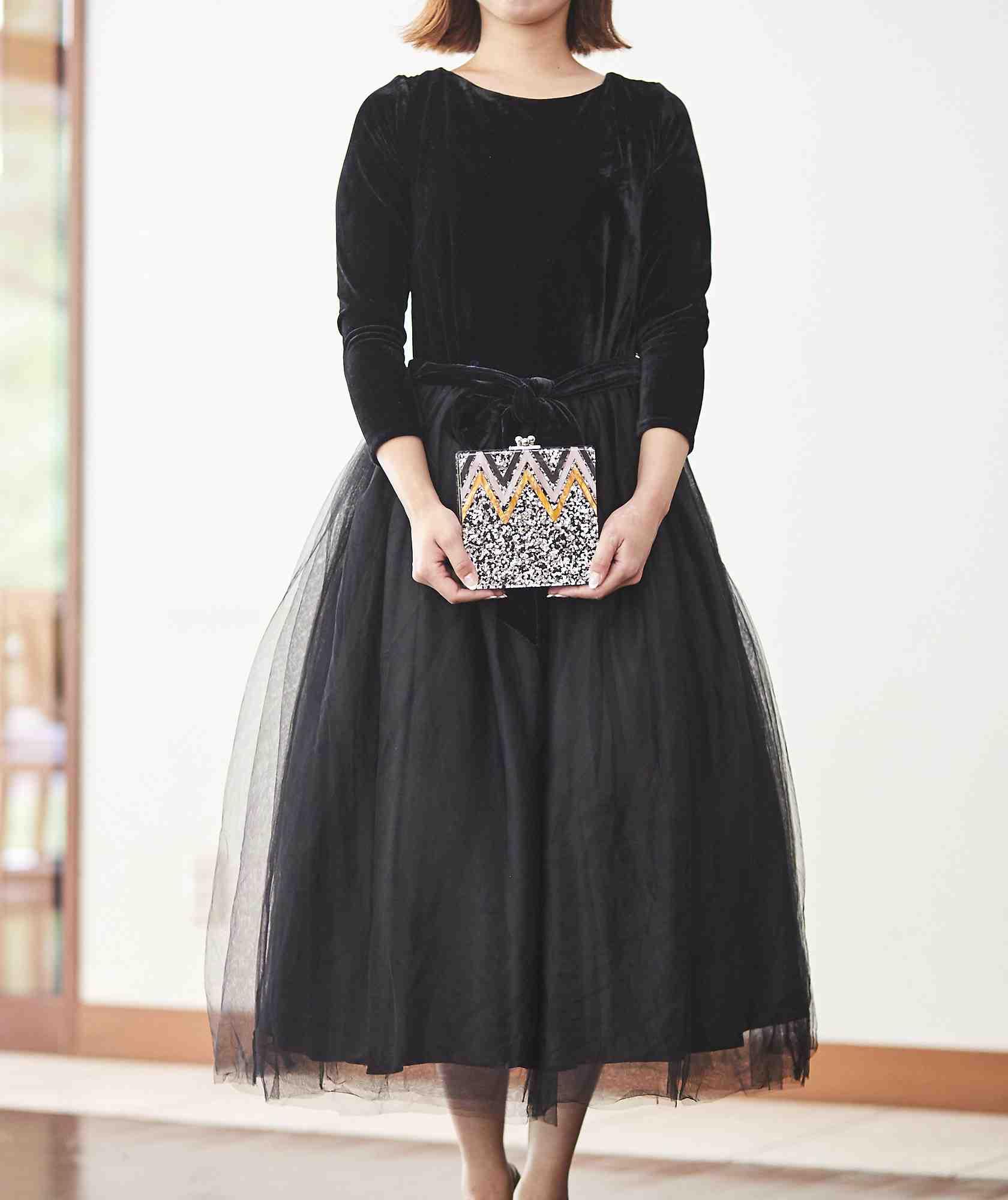 ベロアチュールボリュームAラインミディアムドレス-ブラック-S