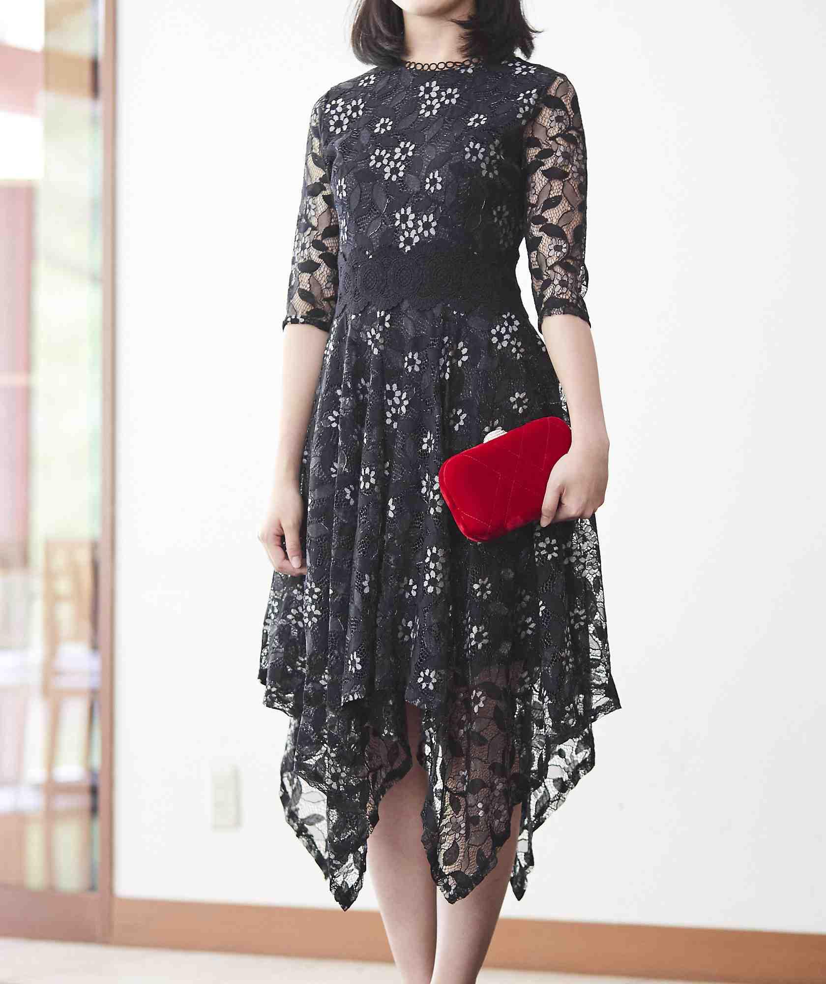 フラワーモチーフアシンメトリーミディアムドレス-ブラック-S-M