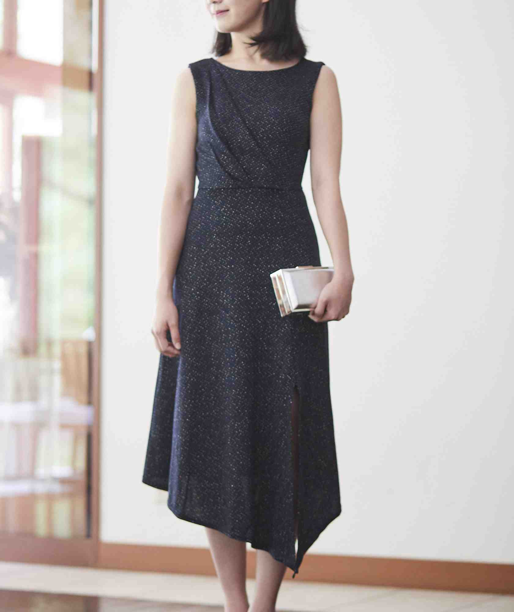 ゴールドラメアシンメトリーミディアムドレス-ブラック-M-L