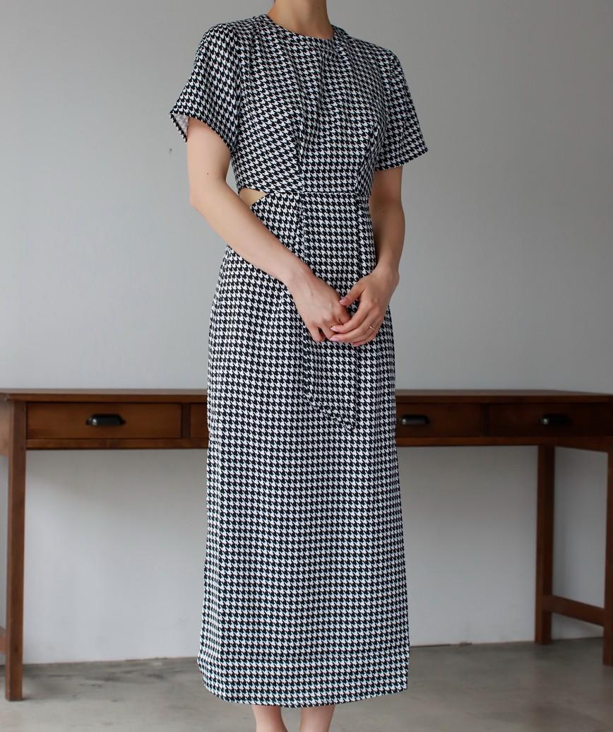 ハウンズトゥースチェックサイドカットアウトミディアムドレス-ブラック-S