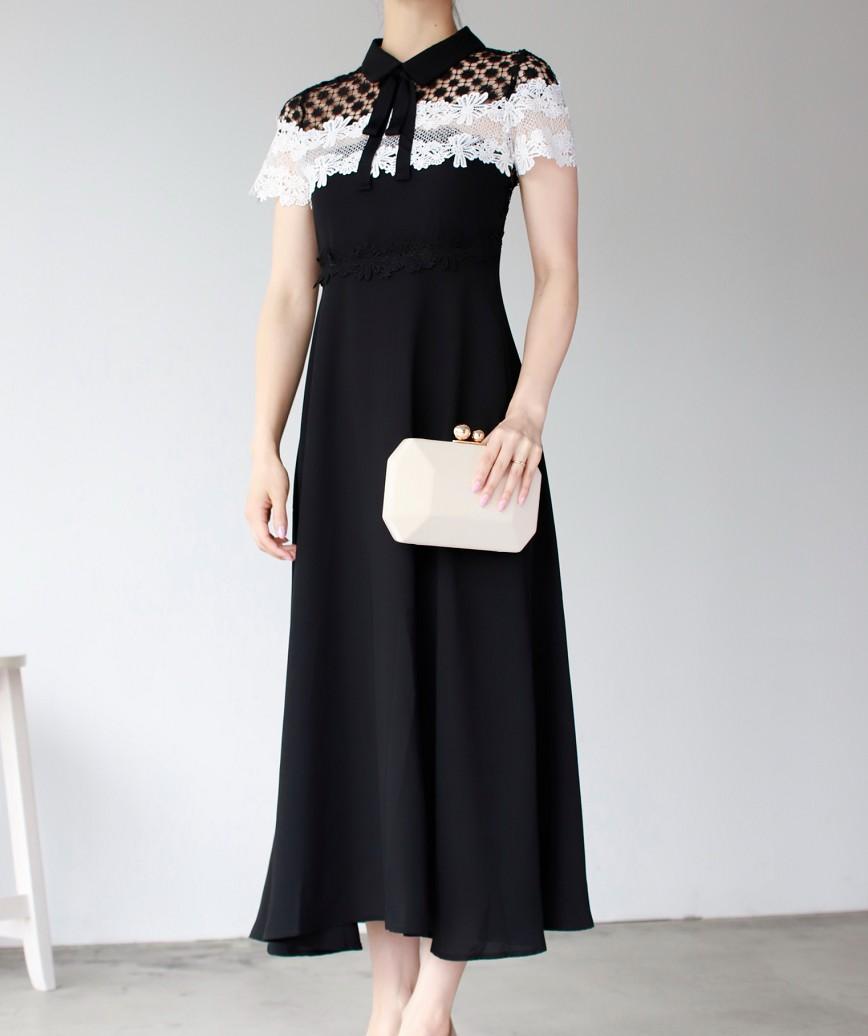 ボウタイレースブロッキングAラインミディアムドレス-ブラック-S