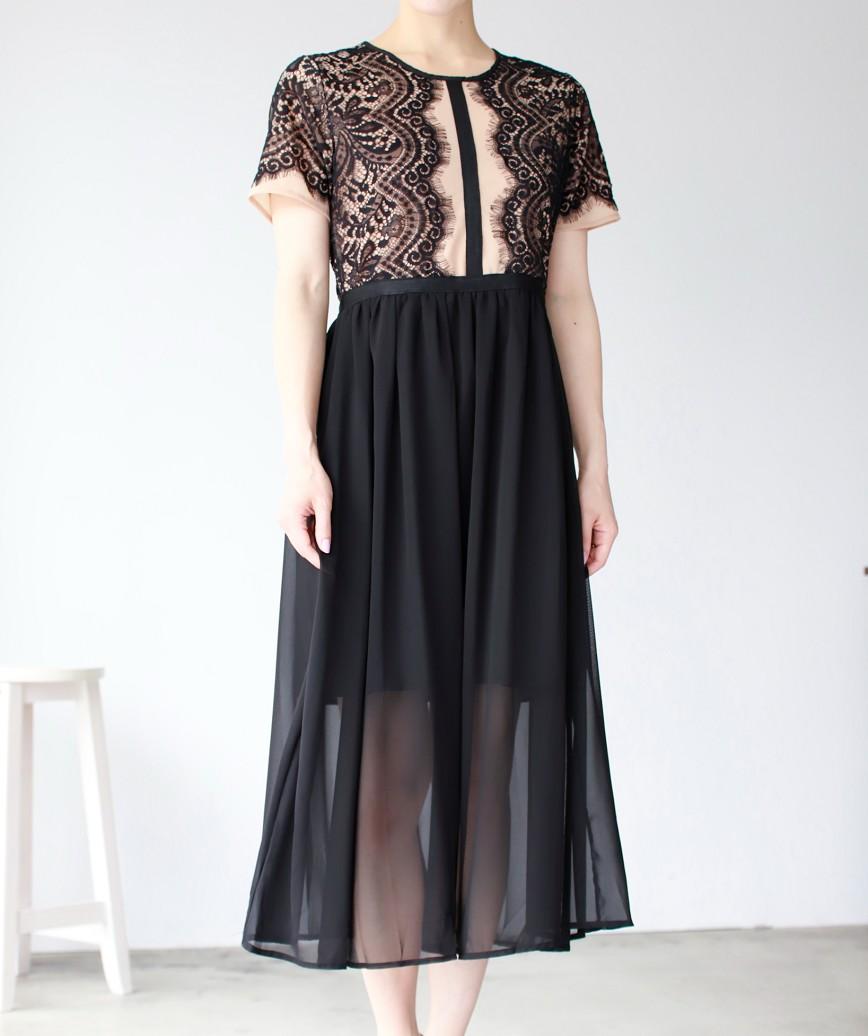 レースモチーフライトスカートミディアムドレス-ブラック-S