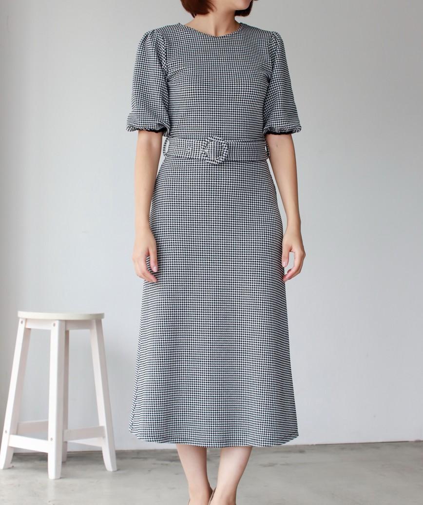 パフスリーブチェッカードベルトミディアムドレス-ブラック-S
