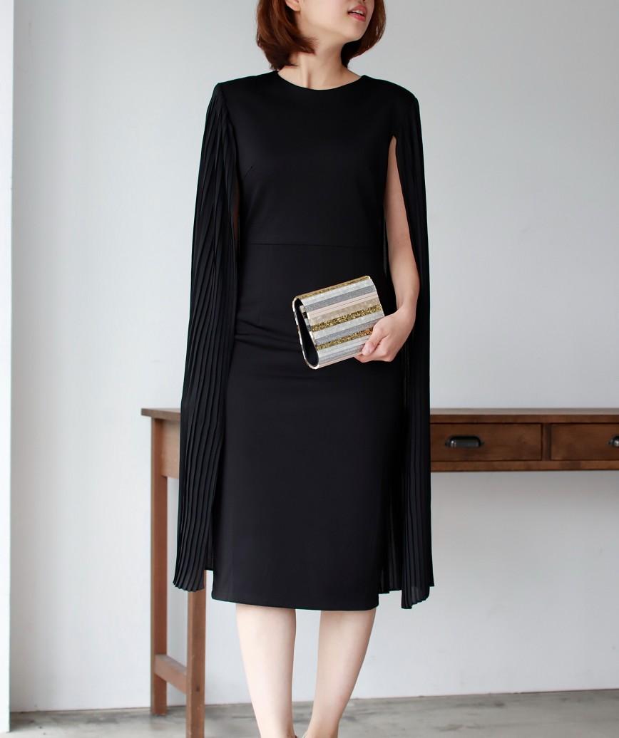 ロングケーププリーツタイトミディアムドレス-ブラック-S