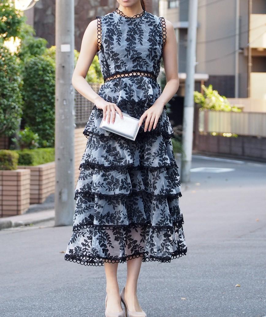 フルレイヤードノースリーブミディアムドレス-ブラック-S
