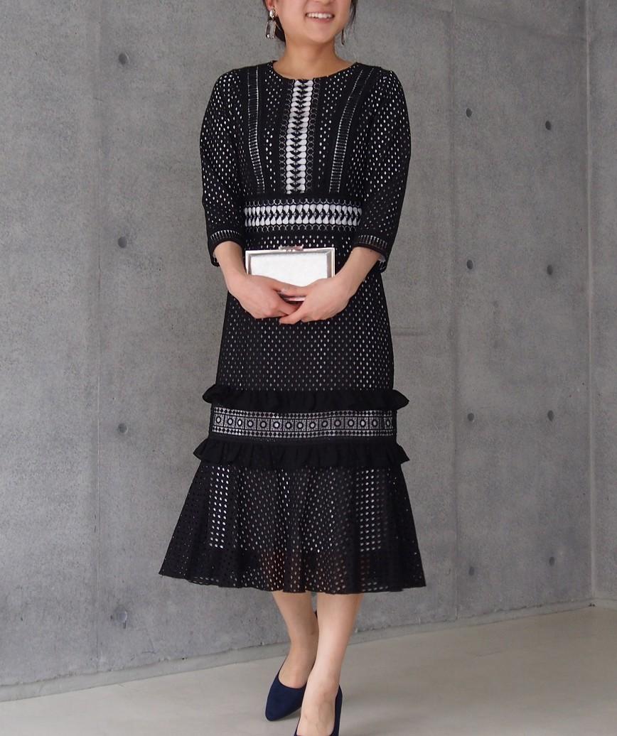 パネルレースレイヤードミディアムドレス-ブラック-S