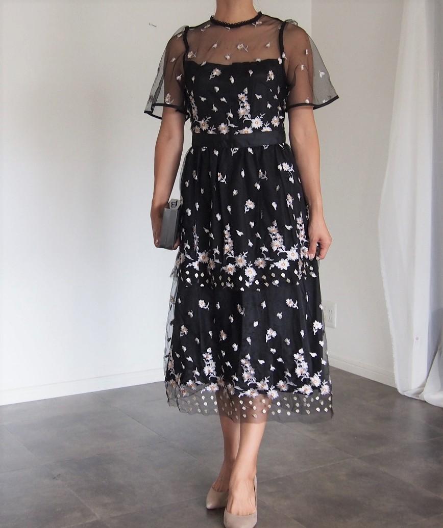 チュールエンブロイダリーフレアスリーブミディアムドレス-ブラック-S