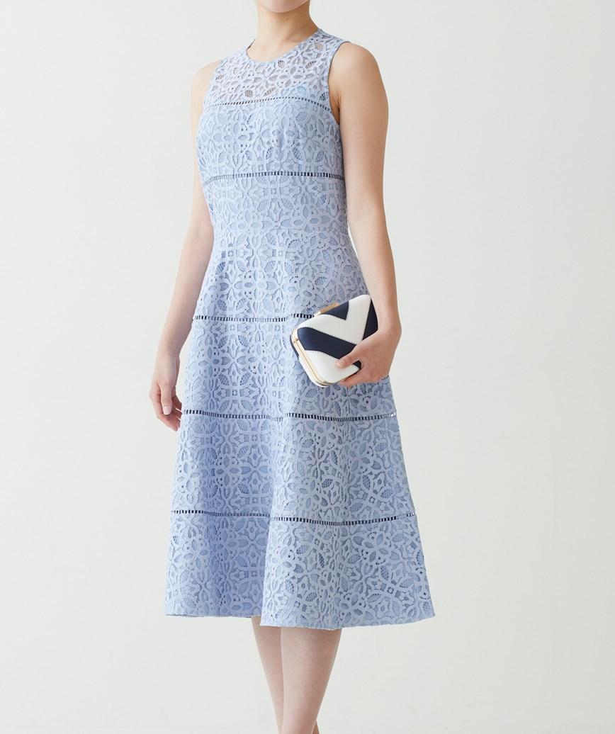 ストライプレースAラインミディアムドレス-ライトブルー-S