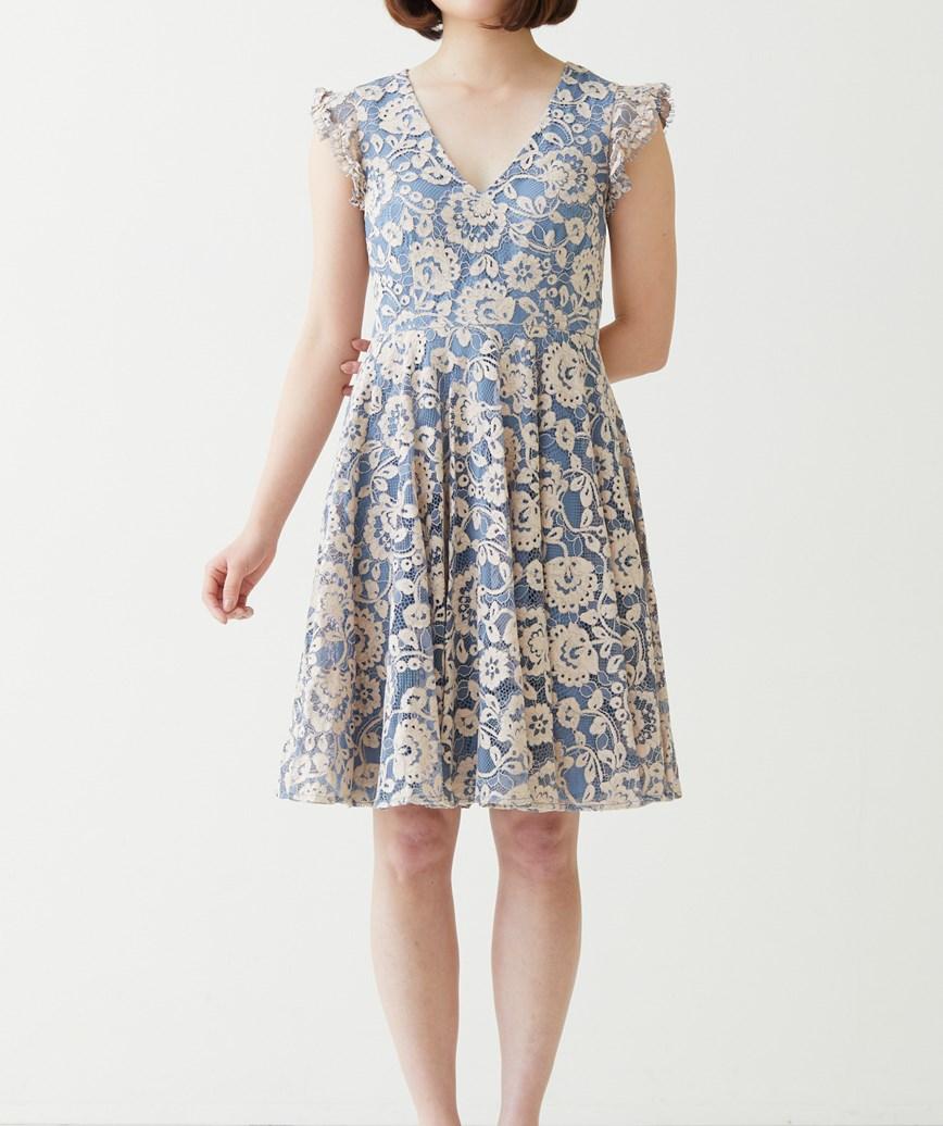 Vネックフラワーレースショートドレス-ブルー-S