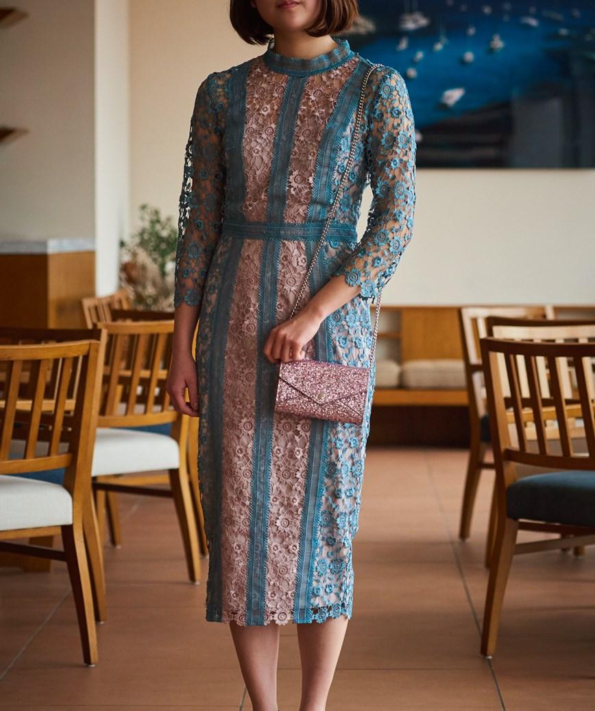ハイネックレースタイトミディアムドレス-ブルー-S