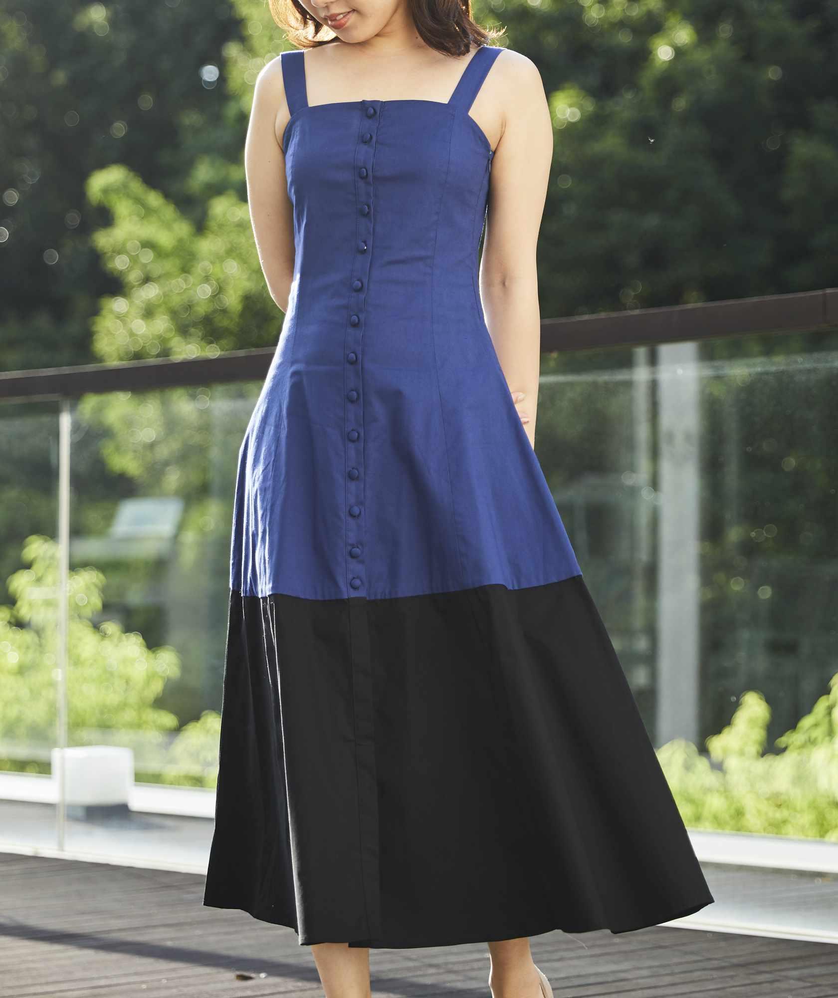コットンキャミソールバイカラーミディアムドレス-ネイビー-S-M