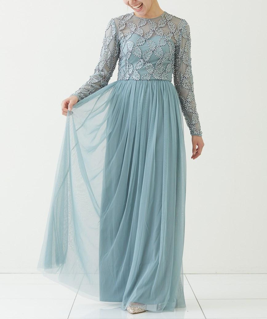 スパンコール×チュールフルスリーブロングドレス―ブルーグレー-M