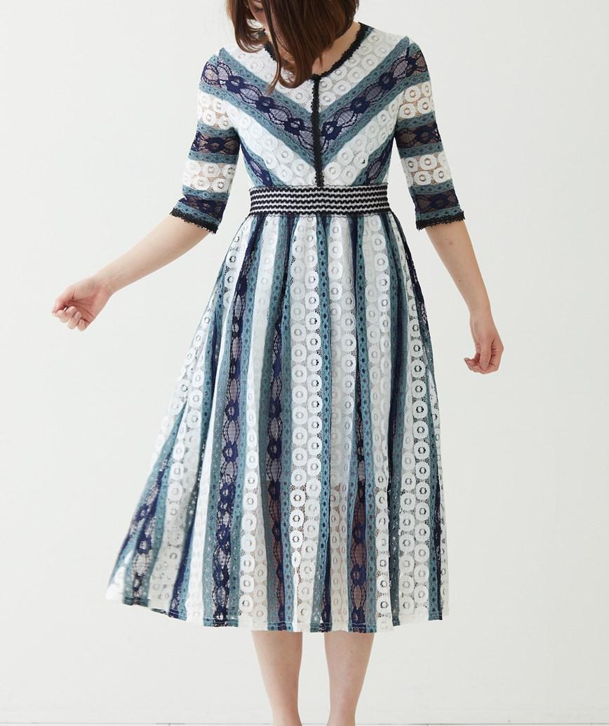 ストライプAラインミディアムドレス―ネイビー-S-M