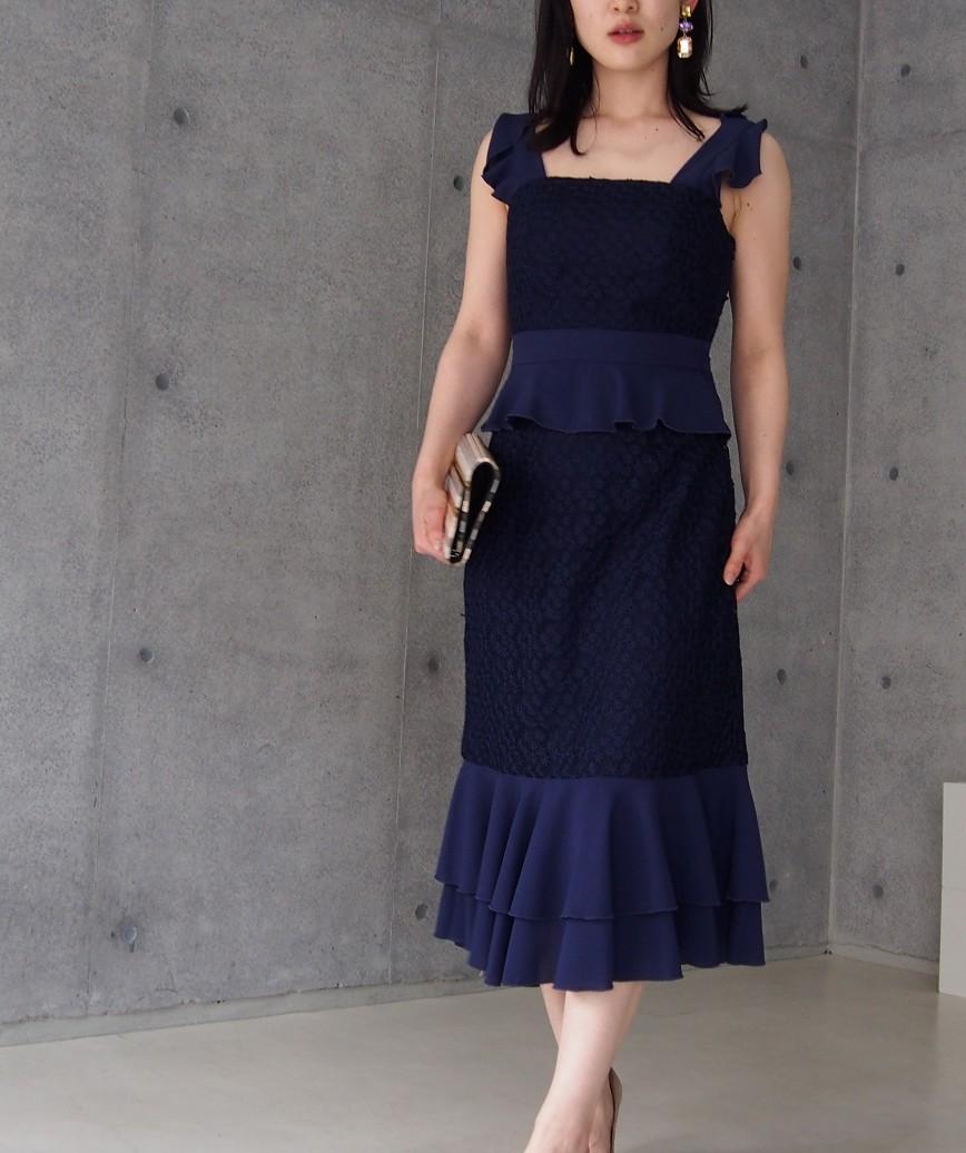 フリルレースアップバックミディアムドレス―ーネイビー-S