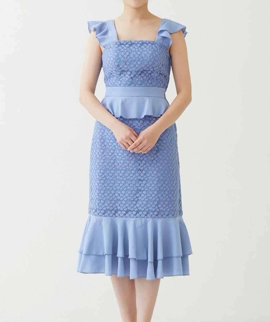 フリルレースアップバックミディアムドレス―ーライトブルー-S
