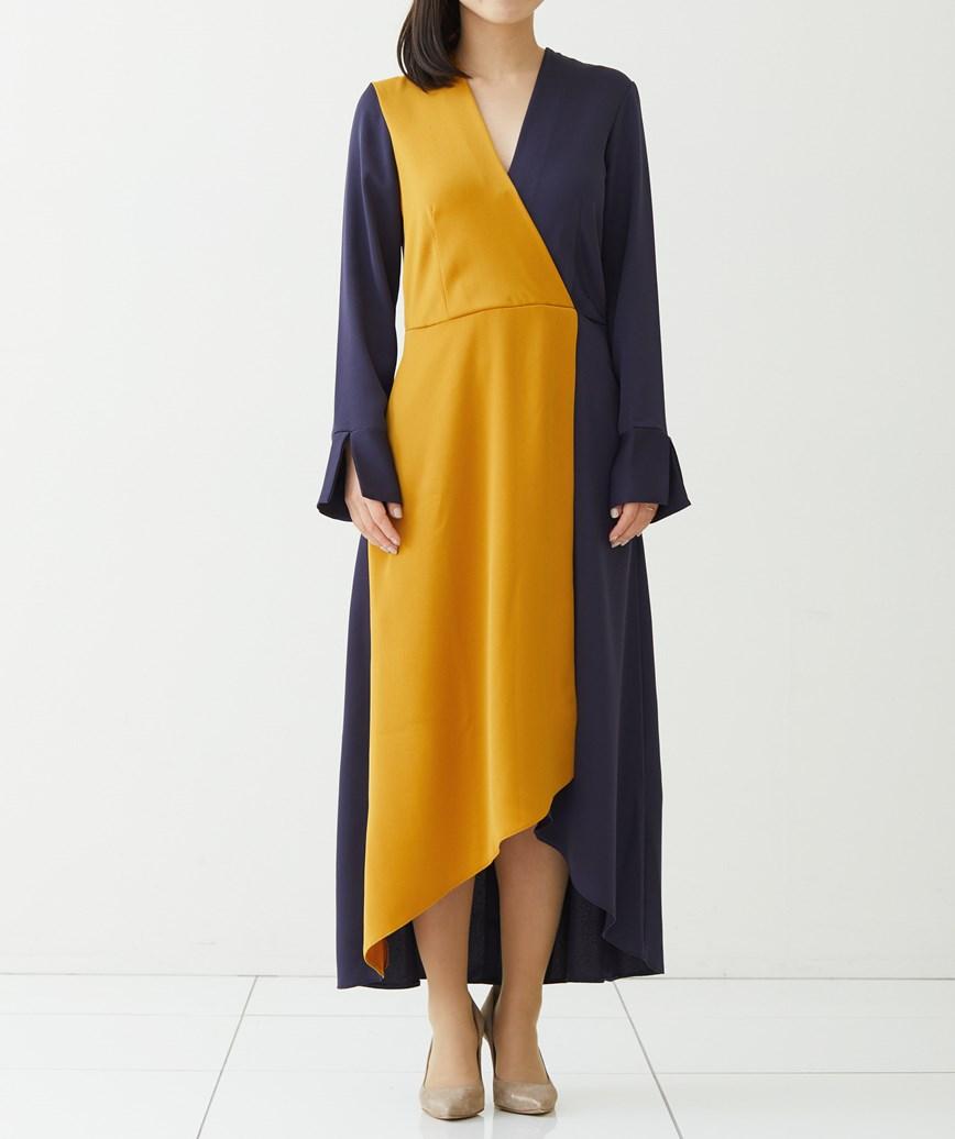 ロングスリーブVネックミディアムドレス-マスタード×ネイビー-S-M