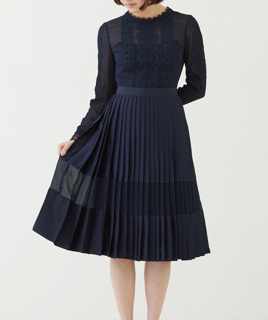 レーストリムプリントミディアムドレス―ネイビー-S-M
