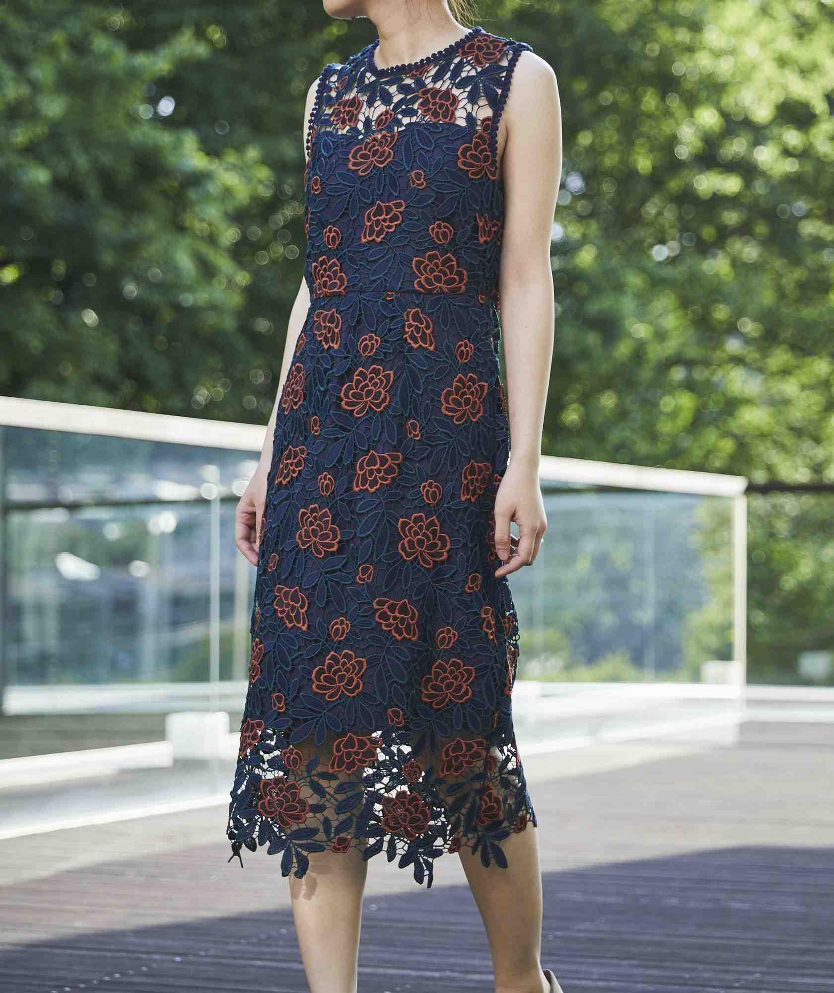 フラワーモチーフレースミディアムドレス-ネイビー-M