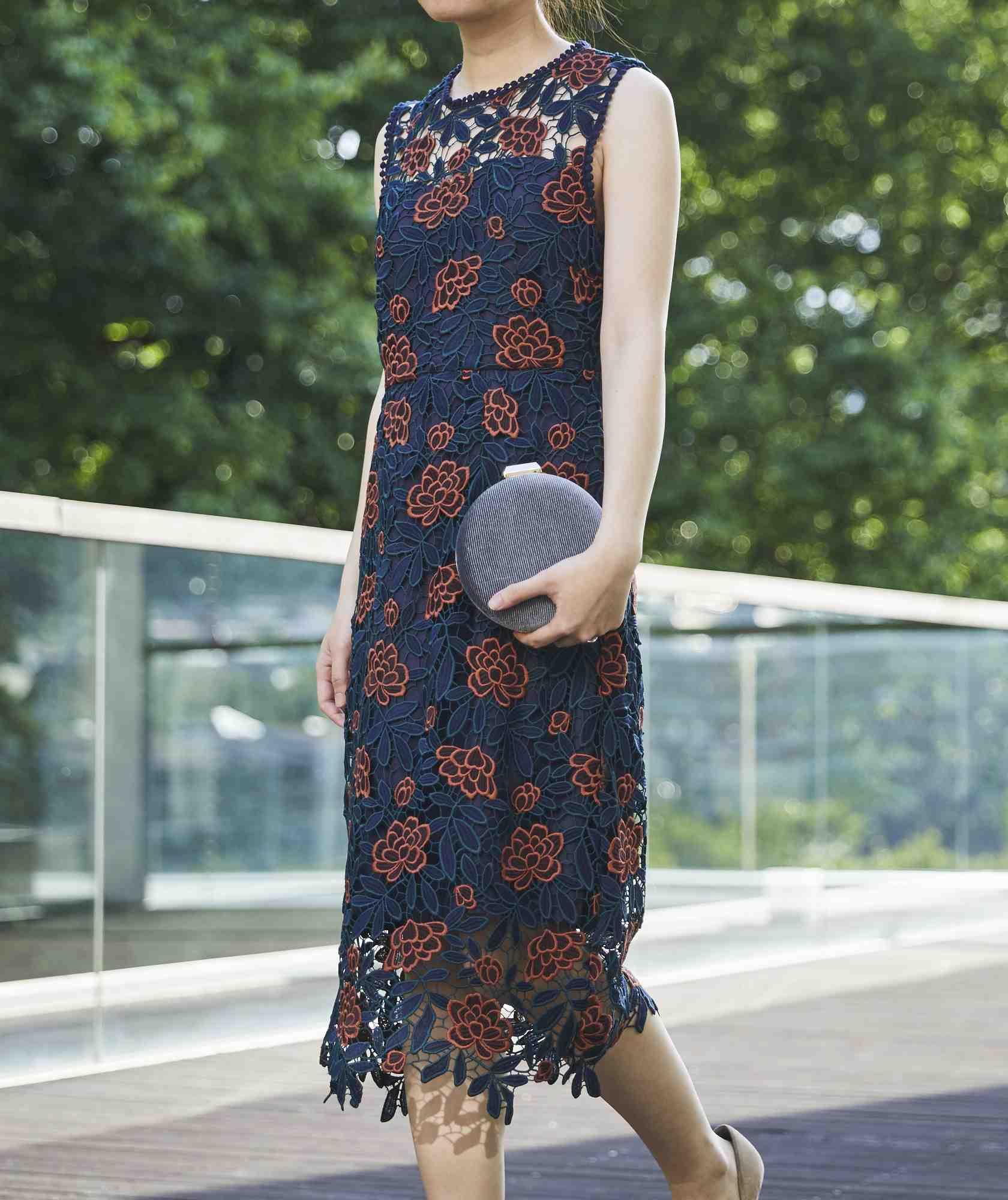 フラワーモチーフレースミディアムドレス-ネイビー-S