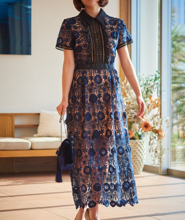 フラワーレースカラーパネルミディアムドレス-ネイビー-M