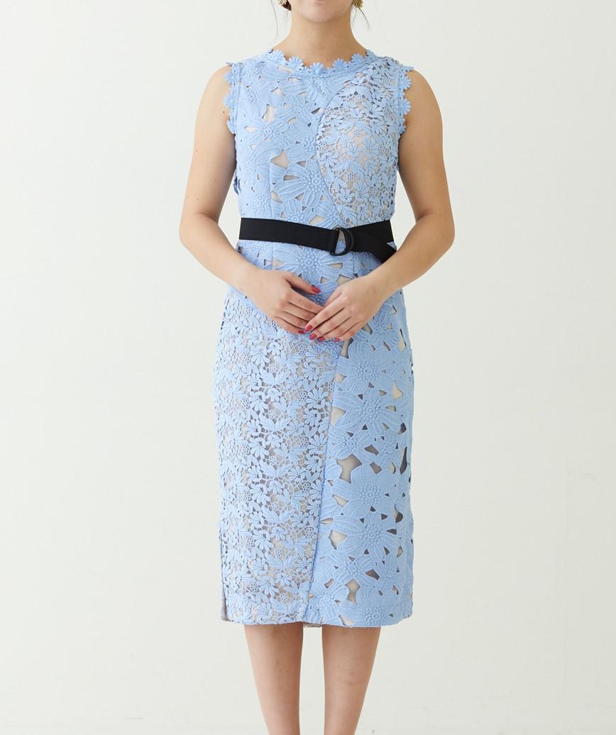 スリーブレスレースタイトミディアムドレス―ライトブルー-S-M