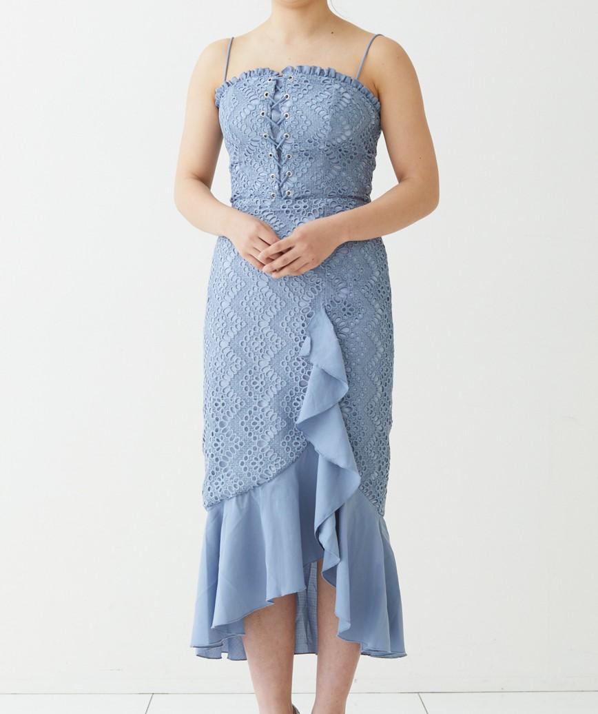 ストラップショルダーフリルミディアムドレス-ライトブルー-S