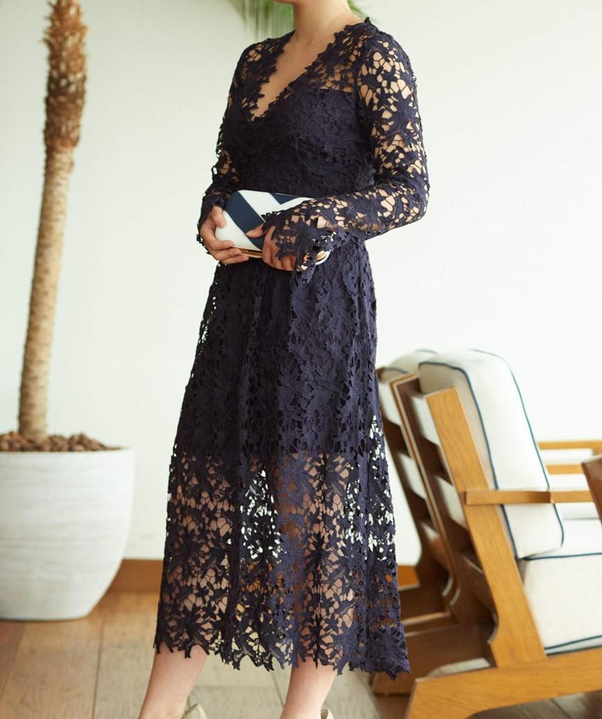 フルスリーブ総レースミディアムドレス-ネイビー-M