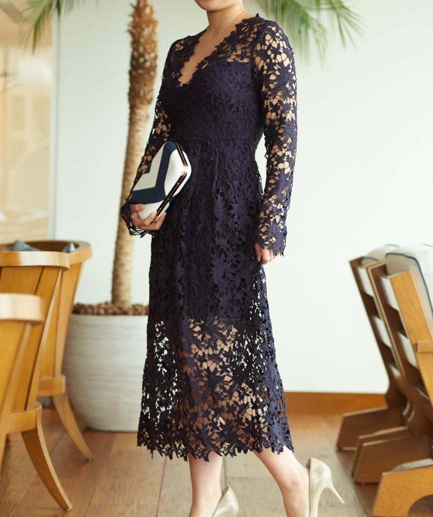 フルスリーブ総レースミディアムドレス-ネイビー-S