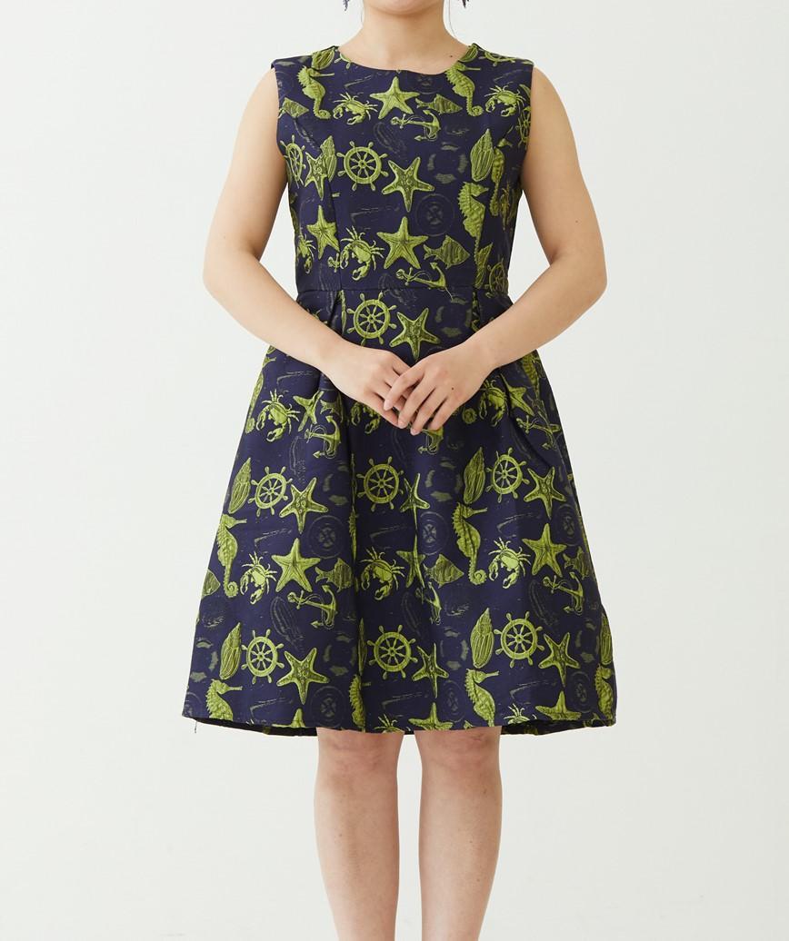 シェルモチーフAラインミディアムドレス-ネイビー-S