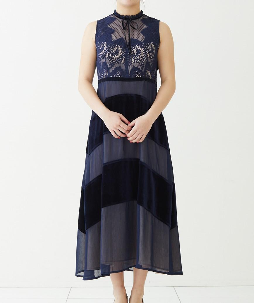 ボウタイストライプベロアロングドレス―ネイビー-M-L