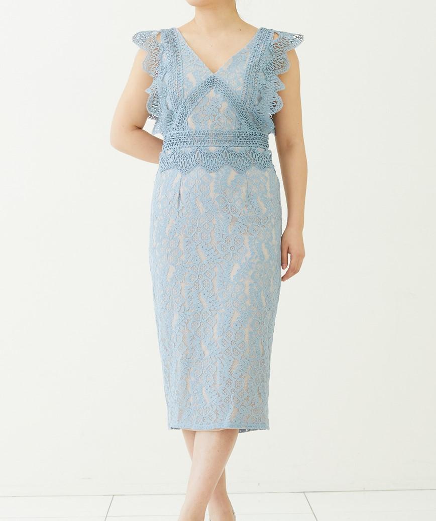 ライトブルーレースフリルスリーブショートドレス―ライトブルー-S