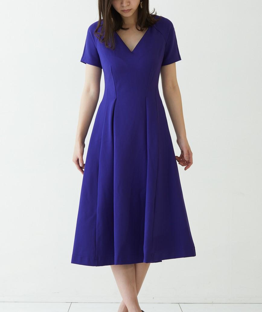 ショートスリーブVネックミディアムドレス-ブルー-S