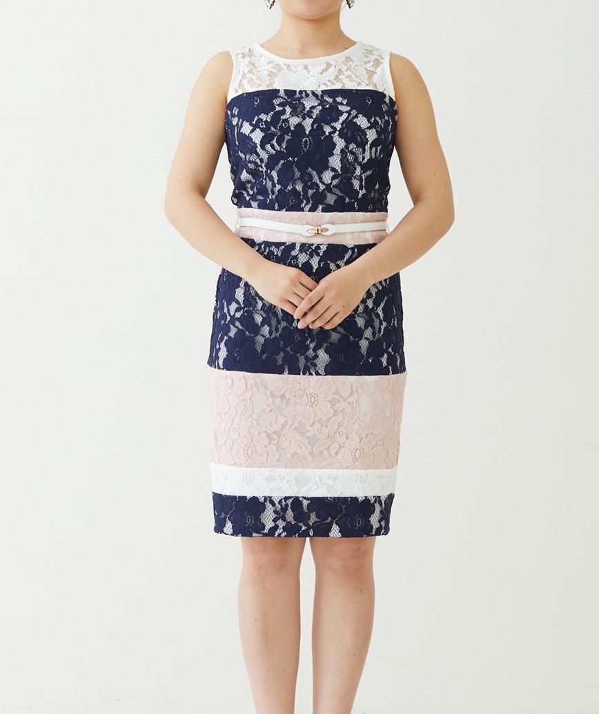 カラーブロックストライプショートドレス-ホワイト×ネイビー-M
