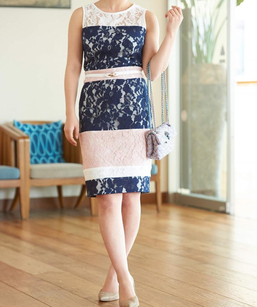 カラーブロックストライプショートドレス-ホワイト×ネイビー-S