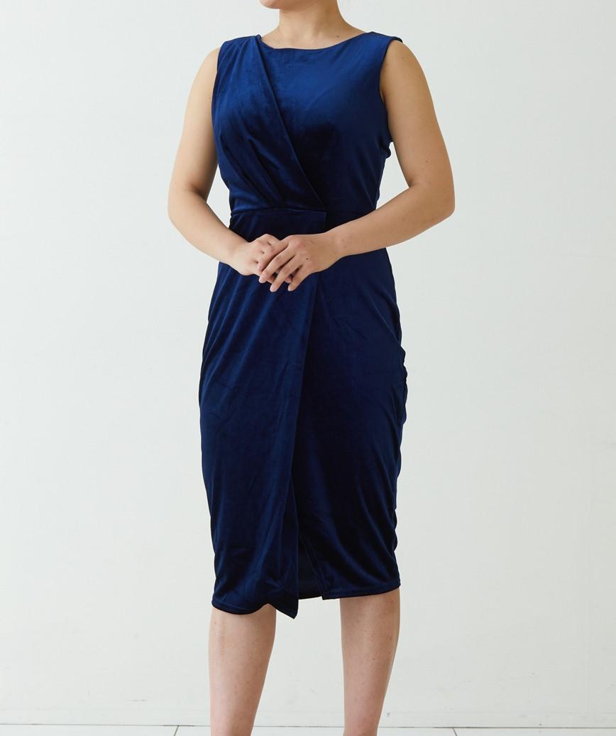 ラウンドフロントベルベットショートドレス-ネイビー-S