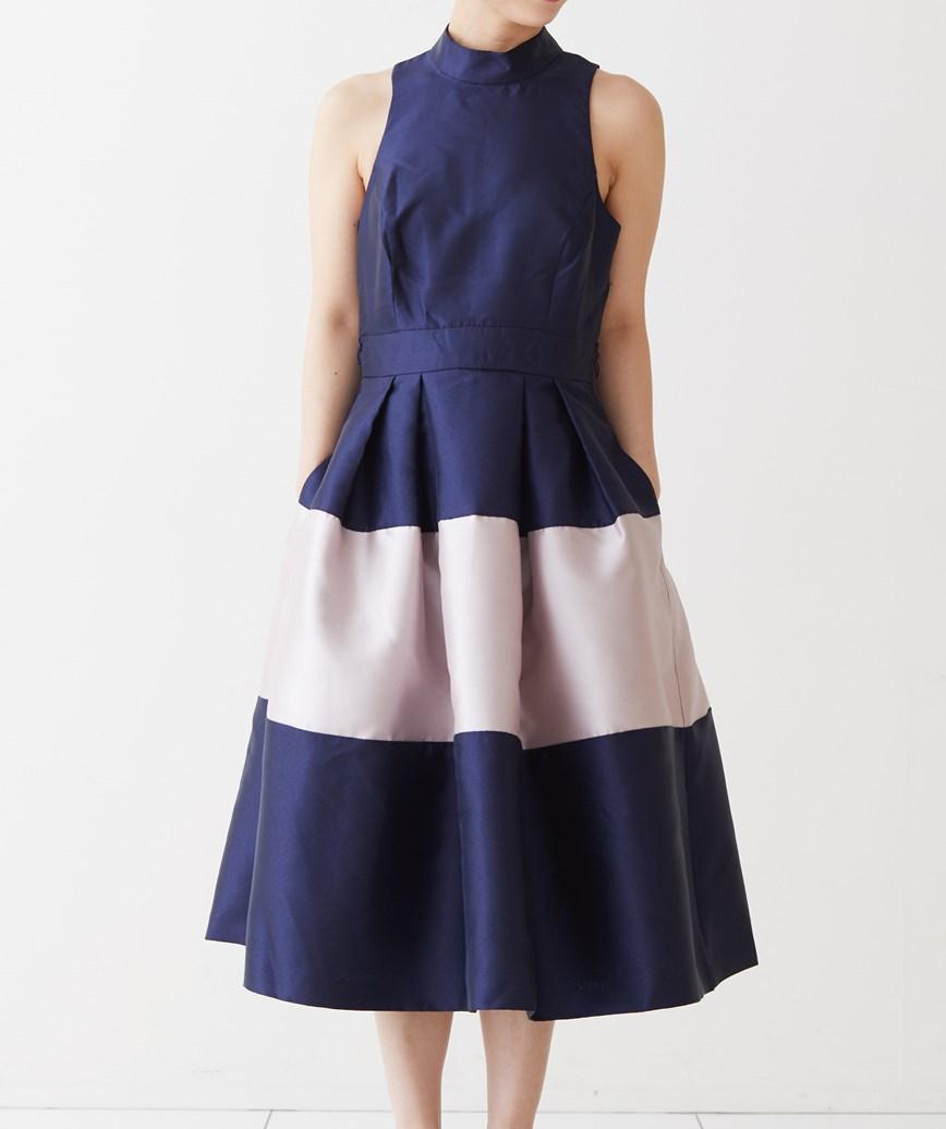 ハイネックバイカラーフレアミディアムドレス-ネイビー-S-M