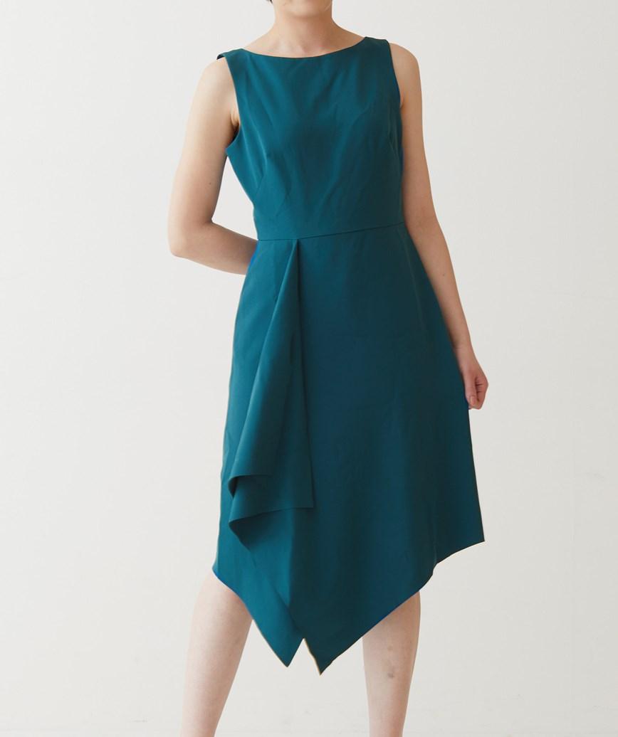アシンメトリースリーブレスミディアムドレス―ブルー-S-M