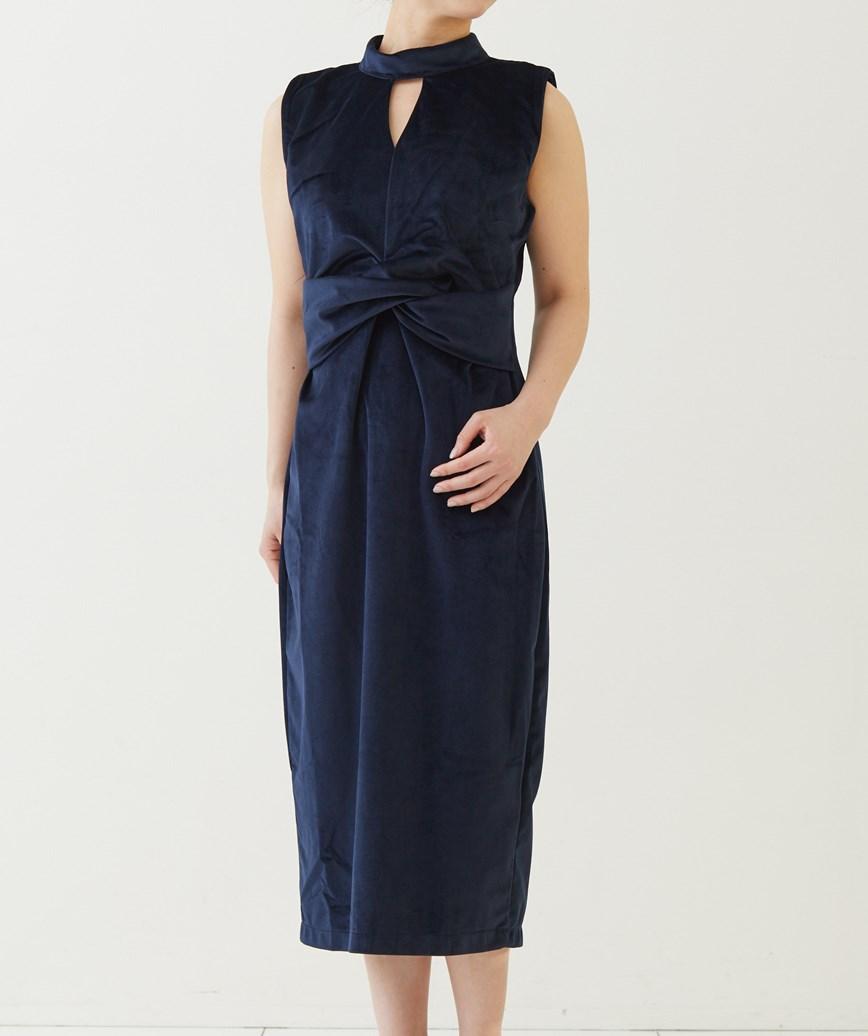ハイネックネイビーベルベットミディアムドレス―ネイビー-S